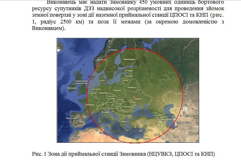 2500 кілометрова зона навколо України